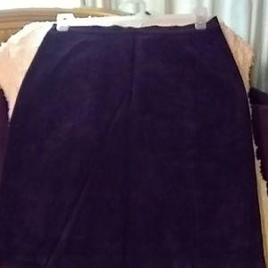 Dark purple suede leather skirt